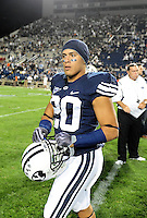 Sept. 19, 2009; Provo, UT, USA; BYU Cougars defensive back (20) Lee Aguirre against the Florida State Seminoles at LaVell Edwards Stadium. Florida State defeated BYU 54-28. Mandatory Credit: Mark J. Rebilas-