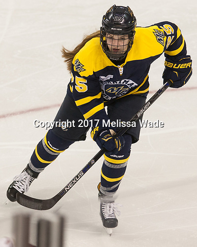 Madison Morey (Merrimack - 25) - The number one seeded Boston College Eagles defeated the eight seeded Merrimack College Warriors 1-0 to sweep their Hockey East quarterfinal series on Friday, February 24, 2017, at Kelley Rink in Conte Forum in Chestnut Hill, Massachusetts.The number one seeded Boston College Eagles defeated the eight seeded Merrimack College Warriors 1-0 to sweep their Hockey East quarterfinal series on Friday, February 24, 2017, at Kelley Rink in Conte Forum in Chestnut Hill, Massachusetts.