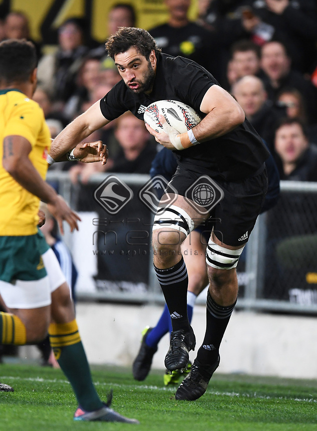 Sam Whitelock.<br /> Bledisloe Cup and Rugby Championship test match. New Zealand All Blacks v Australian Wallabies at Forsyth Barr Stadium, Dunedin, New Zealand. Saturday 26 August 2017. © Copyright photo: Andrew Cornaga / www.Photosport.nz