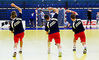 11 JUN 2010 - LONDON, GBR - British players warm up before their 2012 European Handball Championships Qualification Tournament match against Estonia (PHOTO (C) NIGEL FARROW)