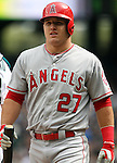 Los Angeles Angels center fielder Mike Trout looks over the crowd before facing Seattle Mariners'  starting pitcher Felix Hernandez in the first inning of season home opener April 6, 2015 at Safeco Field in Seattle.  The Mariners beat the Angels 4-1.    Trout hit a solo homer to center field.    ©2015. Jim Bryant Photo. ALL RIGHTS RESERVED.