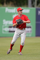 Jean-Francois Garon (21) of College Laval High School in Terrebonne, Quebec, Canada playing for the Philadelphia Phillies scout team during the East Coast Pro Showcase on July 30, 2014 at NBT Bank Stadium in Syracuse, New York.  (Mike Janes/Four Seam Images)