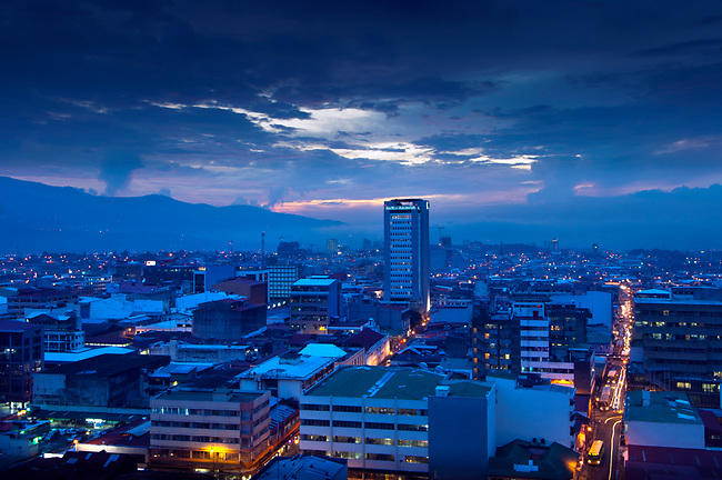 A blue dusk falls over the capital city of San Jose, Costa Rica.