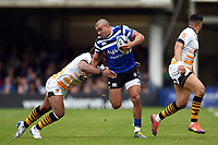 Jonathan Joseph of Bath Rugby takes on the Wasps defence. Gallagher Premiership match, between Bath Rugby and Wasps on May 5, 2019 at the Recreation Ground in Bath, England. Photo by: Patrick Khachfe / Onside Images