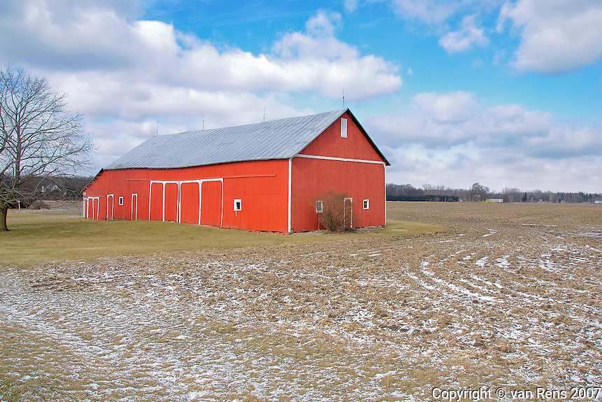 Bright monument agricultural survival on stark landscape in cold February Midwestern farm country.