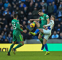 Brighton & Hove Albion's Solly March (right) battles with Watford's Craig Cathcart (left) <br /> <br /> Photographer David Horton/CameraSport<br /> <br /> The Premier League - Brighton and Hove Albion v Watford - Saturday 2nd February 2019 - The Amex Stadium - Brighton<br /> <br /> World Copyright © 2019 CameraSport. All rights reserved. 43 Linden Ave. Countesthorpe. Leicester. England. LE8 5PG - Tel: +44 (0) 116 277 4147 - admin@camerasport.com - www.camerasport.com