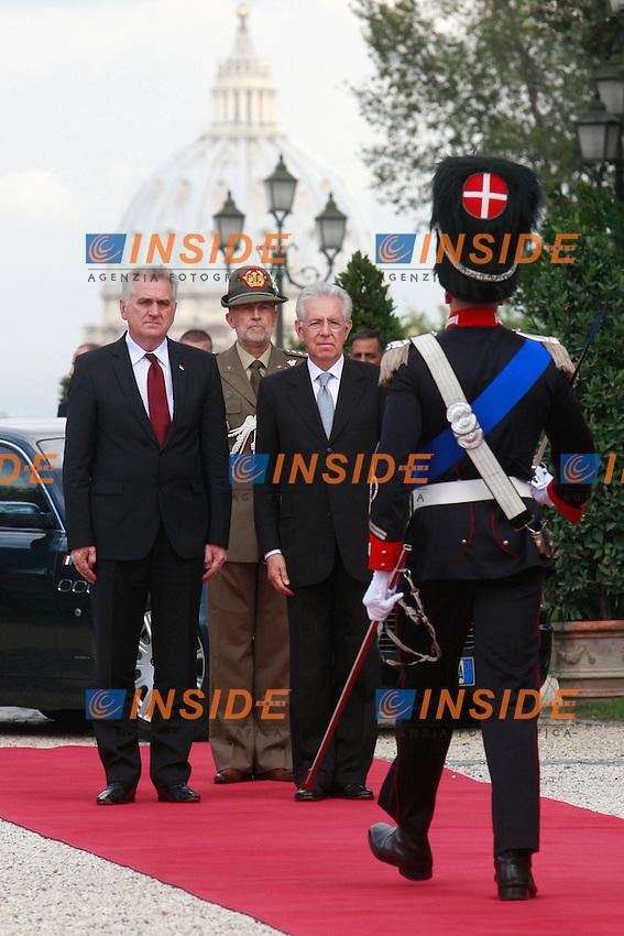 Tomislav Nikolic e Mario Monti.Roma 9/10/2012 Il Presidente del Consiglio incontra a Villa Pamphilj il Presidente della Repubblica di Serbia..Photo Samantha Zucchi Insidefoto