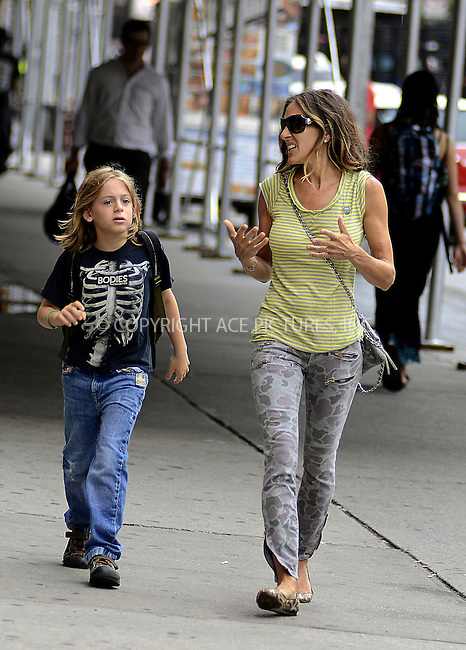WWW.ACEPIXS.COM......September 6 2012, New York City....Actress Sarah Jessica Parker takes her son James Broderick to school on September 6 2012 in New York City......By Line: Curtis Means/ACE Pictures......ACE Pictures, Inc...tel: 646 769 0430..Email: info@acepixs.com..www.acepixs.com