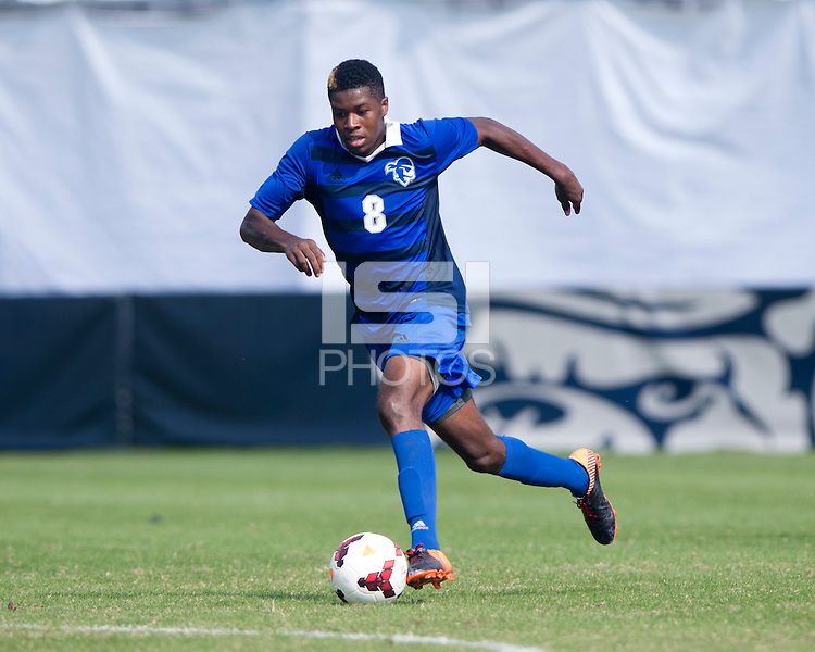 Kai Greene (8) of Seton Hall brings the ball forward at Shaw Field in Washington, DC.  Georgetown defeated Seton Hall, 8-0.