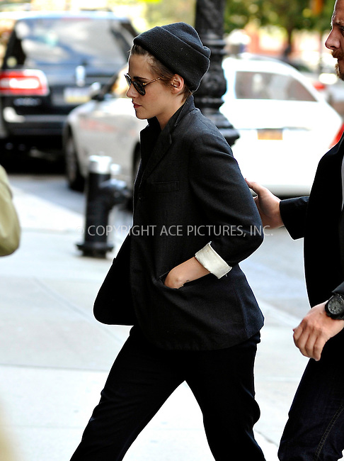 ACEPIXS.COM<br /> <br /> October 8 2014, New York City<br /> <br /> Actress Kristen Stewart outside a downtown hotel on October 8 2014 in New York City<br /> <br /> By Line: Curtis Means/ACE Pictures<br /> <br /> ACE Pictures, Inc.<br /> www.acepixs.com<br /> Email: info@acepixs.com<br /> Tel: 646 769 0430