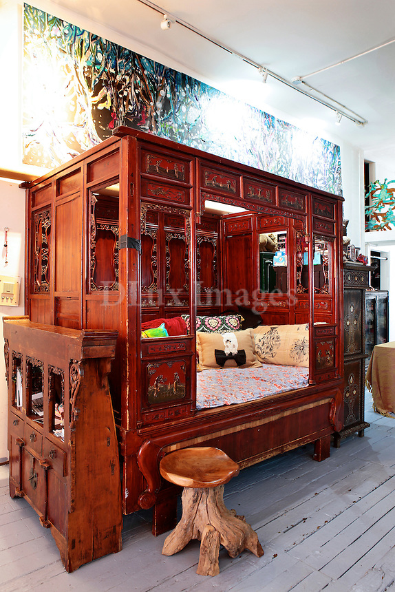oriental wooden bed sofa
