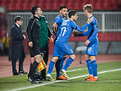 27th March 2018, Karadjorde Stadium, Novi Sad, Serbia; Under 21 International Football Friendly, Serbia U21 versus Italy U21; Forward Simone Palombi of Italy is substituted for Luca Vido of Italy