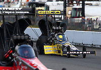 Aug. 2, 2014; Kent, WA, USA; NHRA top fuel dragster driver Richie Crampton during qualifying for the Northwest Nationals at Pacific Raceways. Mandatory Credit: Mark J. Rebilas-USA TODAY Sports