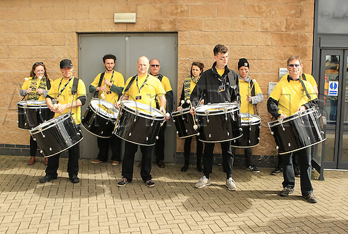 09.04.2016. Ricoh Arena, Coventry, England. European Champions Cup. Wasps versus Exeter Chiefs.  The Wasps Drum Band await the arrival of the team coaches at the Ricoh Stadium