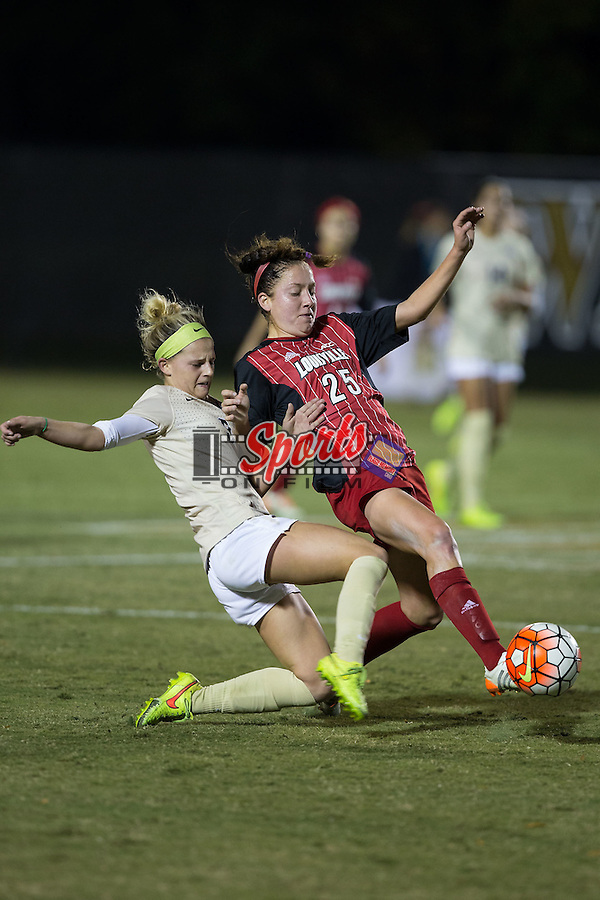 Bayley Feist (9) of the Wake Forest Demon Deacons tries to take the ball away from Caroline Kimble (25) of the Louisville Cardinals during first half action at Spry Soccer Stadium on October 31, 2015 in Winston-Salem, North Carolina.  The Demon Deacons defeated the Cardinals 2-1.  (Brian Westerholt/Sports On Film)