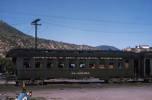 Side view of D&amp;RGW parlor car &quot;Alamosa&quot; at Durango.<br /> D&amp;RGW  Durango, CO