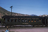 Side view of D&amp;RGW parlor car &quot;Alamosa&quot; at Durango.<br /> D&amp;RGW  Durango, CO