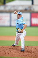 Charlotte Stone Crabs pitcher Chandler Raiden (25) during a Florida State League game against the Bradenton Maruaders on August 7, 2019 at Charlotte Sports Park in Port Charlotte, Florida.  Charlotte defeated Bradenton 2-0 in the first game of a doubleheader.  (Mike Janes/Four Seam Images)