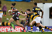 Cardiff Vaega gets scragged from behind by Jackson Ormond. Mitre 10 Cup rugby game between Counties Manukau Steelers and Taranaki Bulls, played at Navigation Homes Stadium, Pukekohe on Saturday August 10th 2019. Taranaki won the game 34 - 29 after leading 29 - 19 at halftime.<br /> Photo by Richard Spranger.