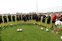 20180304 - LARNACA , CYPRUS :  Belgian players pictured listening during a Matchday -1 training from The Belgian Red Flames prior to their game against Austria , on Sunday 4 March 2018 at the Alpha Sports Grounds in Larnaca , Cyprus . This will be the third game in group B for Belgium during the Cyprus Womens Cup , a prestigious women soccer tournament as a preparation on the World Cup 2019 qualification duels. PHOTO SPORTPIX.BE | DAVID CATRY
