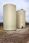 Farm storage tank silos for liquid fertiliser, Suffolk, England