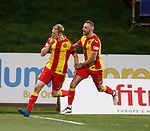 Chris Erskine scores for Partick Thistle and celebrates with Christie Elliott