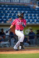 Pensacola Blue Wahoos Lewin Diaz (11) at bat during a Southern League game against the Mobile BayBears on July 25, 2019 at Blue Wahoos Stadium in Pensacola, Florida.  Pensacola defeated Mobile 2-1 in the first game of a doubleheader.  (Mike Janes/Four Seam Images)