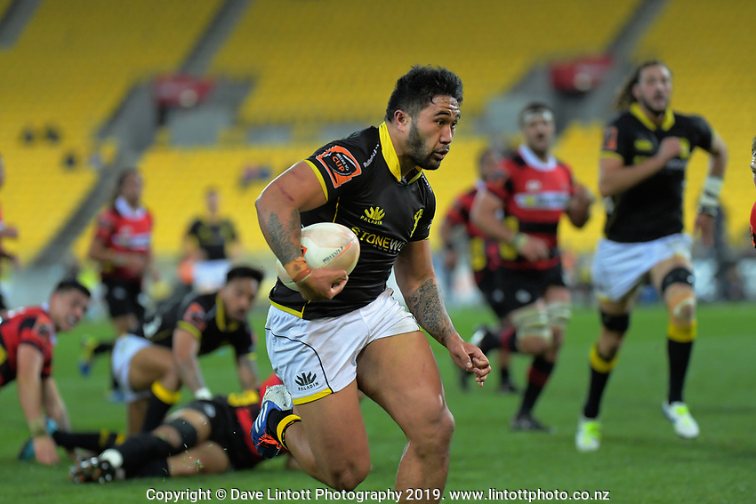 Vince Aso runs for the tryline during the Mitre 10 Cup rugby match between Wellington Lions and Canterbury at Westpac Stadium in Wellington, New Zealand on Friday, 23 August 2019. Photo: Dave Lintott / lintottphoto.co.nz