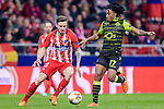 Saul Niguez Esclapez of Atletico de Madrid (L) fights for the ball with Gelson Martins of Sporting CP (R) during the UEFA Europa League quarter final leg one match between Atletico Madrid and Sporting CP at Wanda Metropolitano on April 5, 2018 in Madrid, Spain. Photo by Diego Souto / Power Sport Images