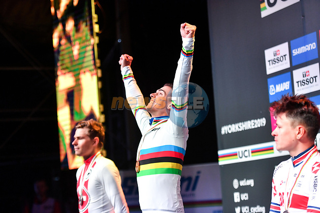 Silver medal for Stefan Bissegger of Switzerland, Gold for Samuele Battistella of Italy and Bronze for Thomas Pidcock of Great Britain on the podium at the end of the Men U23 Road Race of the UCI World Championships 2019 running 186.9km from Doncaster to Harrogate, England. 27th September 2019.<br /> Picture: Simon Wilkinson/SWpix.com | Cyclefile<br /> <br /> All photos usage must carry mandatory copyright credit (© Cyclefile | Simon Wilkinson/SWpix.com)