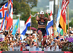 KONA, HAWAII - OCTOBER 14:  Sarah Crowley of Australia celebrates her 3rd place finish during the 2017 IRONMAN World Championships on October 12, 2017 in Kona, Hawaii. (Photo by Donald Miralle for IRONMAN)