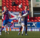 24th March 2018, McDiarmid Park, Perth, Scotland; Scottish Football Challenge Cup Final, Dumbarton versus Inverness Caledonian Thistle; Stuart Carswell of Dumbarton battles for the ball with Joe Chalmers of Inverness Caledonian Thistle