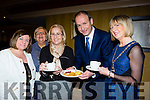 Fianna Fail leader Micheal Martin enjoying a pancake with Kerry candidate Norma Moriarty, Teresa Irwin, Sheila Casey and Soroptimists National president Sarah McCormack in the Killarney Avenue Hotel on Tuesday