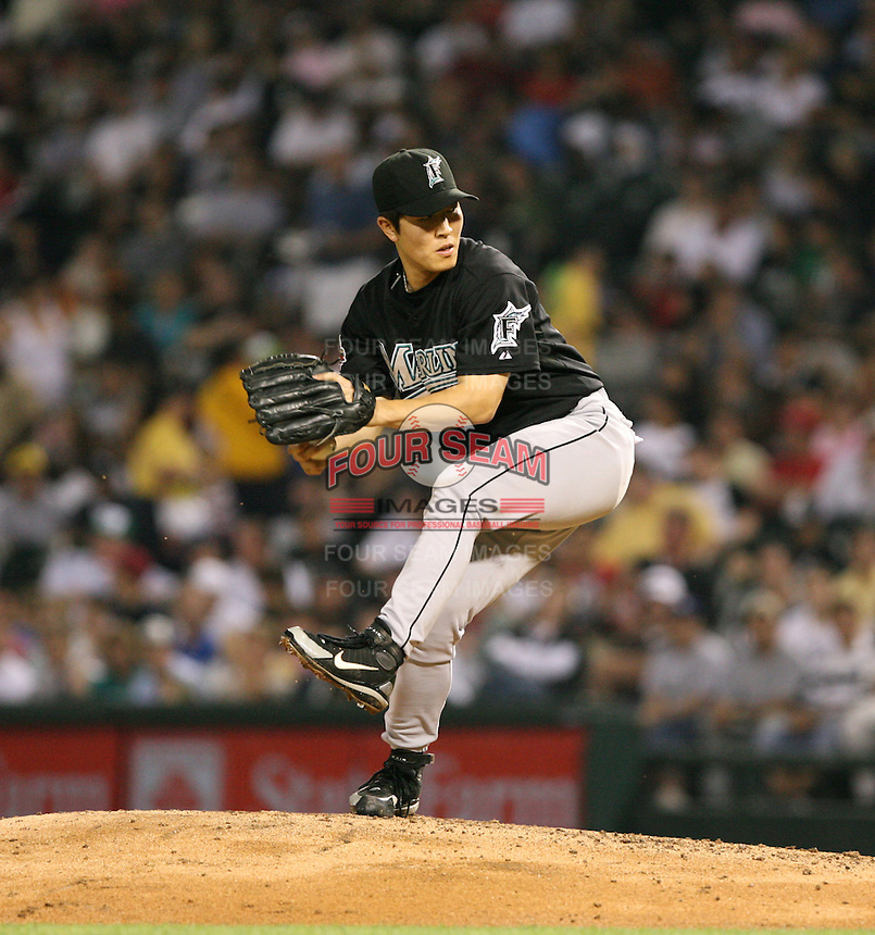 Byung-Hyun Kim of the Florida Marlins vs. the Chicago White Sox: June 19th, 2007 at U.S. Cellular Field in Chicago, IL.  Photo by Mike Janes/Four Seam Images
