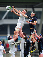 Callum Chick of England U20 wins the ball at a lineout. World Rugby U20 Championship match between England U20 and Scotland U20 on June 11, 2016 at the Manchester City Academy Stadium in Manchester, England. Photo by: Patrick Khachfe / Onside Images