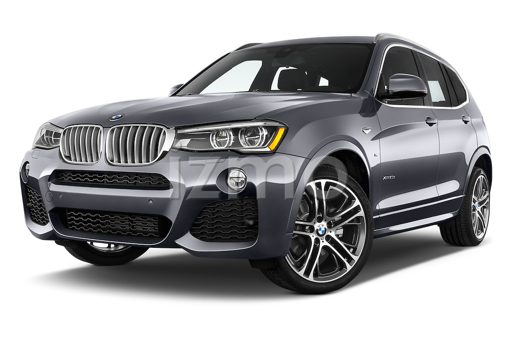 Stock pictures of low aggressive front three quarter view of 2016 BMW X3 xDrive28d 5 Door SUV Low Aggressive