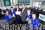 Jerry Kennelly, CEO of Tweak and past student was invited to present the Digital Schools of Distinction Award 2013 to CBS primary school Tralee on Wednesday. Pictured Jerry Kennelly presented the award to Teacher Maura Lynch and Students Amy Pitman, Tara Clifford, Dylan O'Malley and Rian Costello in the Computer room at CBS