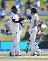 25th November 2019; Mt Maunganui, New Zealand;  England's Jofra Archer batting with Sam Curran International test match day 5 of 1st test, New Zealand versus England;  at Bay Oval, Mt Maunganui, New Zealand.