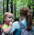 Close up of Ali Troxell's daughter, Lucia, during a Hike It Baby/ Catskills-Woodstock sponsored hike into the Esopus Bend Nature Preserve in Saugerties, NY, on Memorial Day Monday, May 30, 2016. Photo by Jim Peppler. Copyright Jim Peppler 2016<br /> The hike was led by HIB.Catskill-Woodstock, Ambassador, Ann Peters, accompanied by her husband, John Peters, their daughter, Violet; HIB chapter co-Ambassador, Ali Troxell, with her daughter, Lucia; and Robin Willens, and her son, Landon. They entered at the Sterley Avenue entrance and walked thru to the landing area on the Esopus.