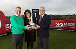 ISPS Handa Wales Open Announcement at the Celtic Manor Resort..Midori Miyazaki of new sponsor ISPS on the 1st tee of the Twenty Ten Course with former champion Paul McGinley and honorary Captain Gareth Edwards. .28.11.11.©Steve Pope