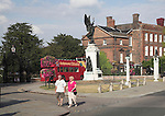 Red open topped double decker bus, war memorial statue, Hollytrees Museum,  Cowdray Crescent Colchester, Essex, England