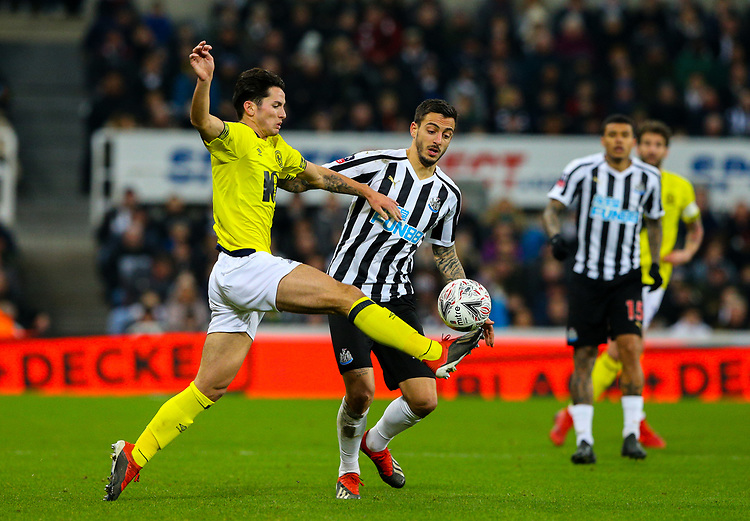 Blackburn Rovers' Lewis Travis battles with Newcastle United's Joselu<br /> <br /> Photographer Alex Dodd/CameraSport<br /> <br /> Emirates FA Cup Third Round - Newcastle United v Blackburn Rovers - Saturday 5th January 2019 - St James' Park - Newcastle<br />  <br /> World Copyright © 2019 CameraSport. All rights reserved. 43 Linden Ave. Countesthorpe. Leicester. England. LE8 5PG - Tel: +44 (0) 116 277 4147 - admin@camerasport.com - www.camerasport.com