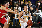 Palos Verdes, CA January 19, 2010 - Shannon Tsumaki (15) drives up to the hoop with Anne Candido (11) in tow during the Palos Verdes vs Peninsula Panthers basketball game at Peninsula High School.