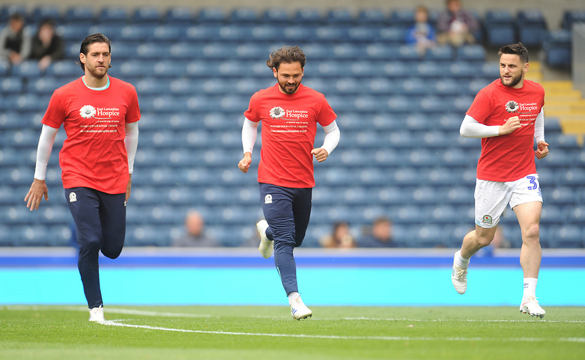 Blackburn Rovers' Danny Graham, Bradley Dack and Craig Conway during the pre-match warm-up <br /> <br /> Photographer Kevin Barnes/CameraSport<br /> <br /> The EFL Sky Bet Championship - Blackburn Rovers v Swansea City - Sunday 5th May 2019 - Ewood Park - Blackburn<br /> <br /> World Copyright © 2019 CameraSport. All rights reserved. 43 Linden Ave. Countesthorpe. Leicester. England. LE8 5PG - Tel: +44 (0) 116 277 4147 - admin@camerasport.com - www.camerasport.com