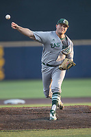 Eastern Michigan Eagles pitcher Kevin Shul (47) delivers a pitch to the plate during the NCAA baseball game against the Michigan Wolverines on May 16, 2017 at Ray Fisher Stadium in Ann Arbor, Michigan. Michigan defeated Eastern Michigan 12-4. (Andrew Woolley/Four Seam Images)