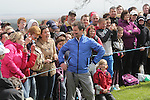 Ant & Dec showing off their golf skills during the Celebrity Golf @ Golf Live..Dec posing for the golf fans...Celtic Manor Resort.11.05.13.©Steve Pope