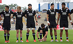 Otere Black (L), Damian McKenzie, Heiden Bedwell-Curtis, Kurt Baker, Rieko Ioane, Akira Ioane. Maori All Blacks vs. Fiji. Suva. MAB's won 27-26. July 11, 2015. Photo: Marc Weakley