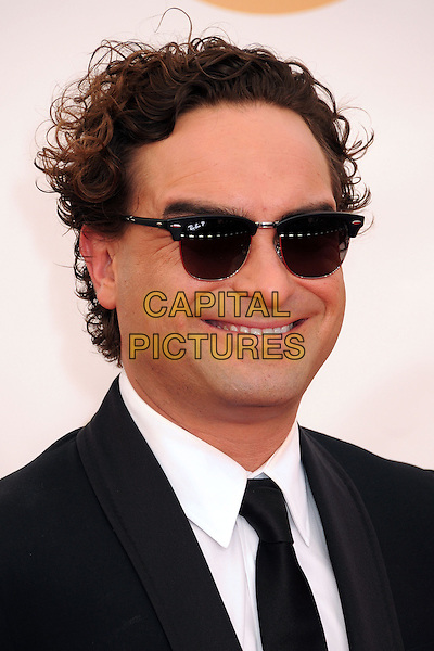 Johnny Galecki<br /> The 65th Annual Primetime Emmy Awards - Arrivals held at The Nokia Theatre L.A. Live in Los Angeles, California, USA.<br /> September 22nd, 2013 <br /> headshot portrait black white tie suit sunglasses shades ray bans<br /> CAP/ADM/BP<br /> &copy;Byron Purvis/AdMedia/Capital Pictures