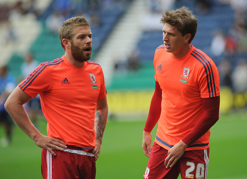 Middlesbrough's Adam Reach (right) and Adam Clayton during the pre-match warm-up <br /> <br /> Photographer Kevin Barnes/CameraSport<br /> <br /> Football - The Football League Sky Bet Championship - Preston North End v Middlesbrough -  Sunday 9th August 2015 - Deepdale - Preston<br /> <br /> &copy; CameraSport - 43 Linden Ave. Countesthorpe. Leicester. England. LE8 5PG - Tel: +44 (0) 116 277 4147 - admin@camerasport.com - www.camerasport.com