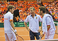 14-sept.-2013,Netherlands, Groningen,  Martini Plaza, Tennis, DavisCup Netherlands-Austria, Doubles,   Robin Haase(L) and Jean-Julien Rojer (NED) with captain Jan Siemerink(M)<br /> Photo: Henk Koster